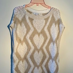 Knit top with white hearts